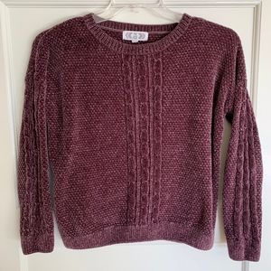 Chenille Purple Crewneck Cable Knit Sweater